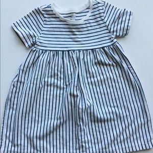 Old Navy Short Sleeve Navy Striped Dress 6-12 Mo